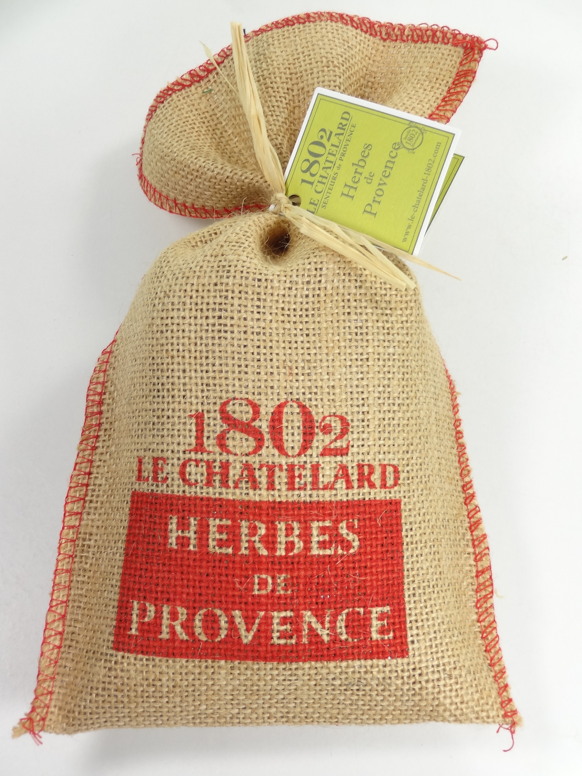 herbes de provence sachet toile de jute motif village 150g motif rouge souvenirs et id es. Black Bedroom Furniture Sets. Home Design Ideas