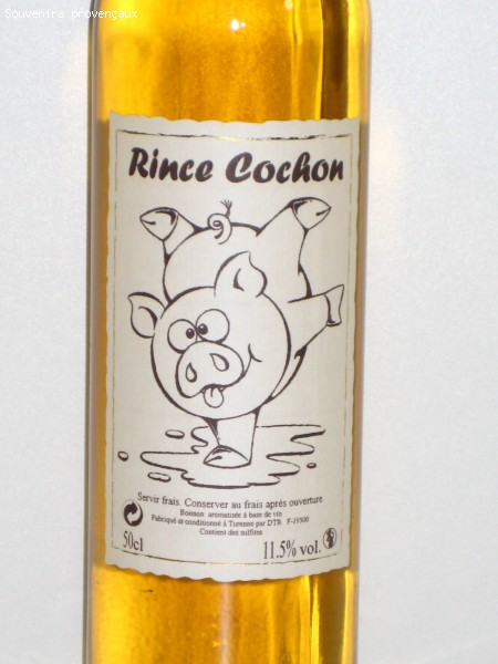 ap ritif vin blanc gingembre le rince cochon 50cl tee shirts tasses objets humour boutique. Black Bedroom Furniture Sets. Home Design Ideas