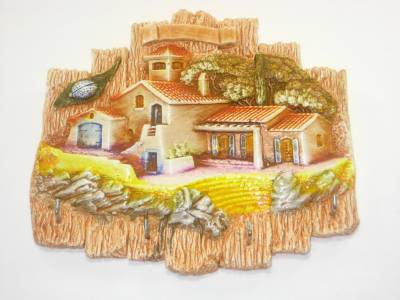Accroche Clefs Artisanal En Platre Orange Theme Village