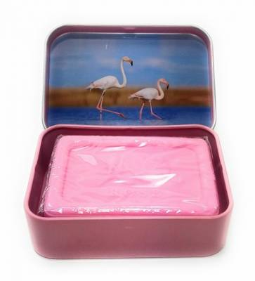 Boite Métal Savon Rectangle  Theme Flamand Rose (savon Lavande 60g)