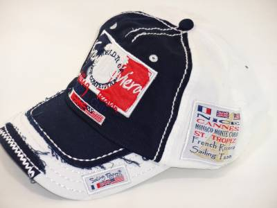 Casquette Adulte French Riviera Cannes Nice St Tropez (Marine et Blanc)