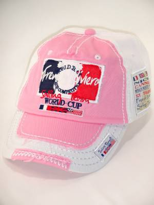 Casquette Adulte French Riviera Cannes Nice St Tropez (Rose et Blanche)