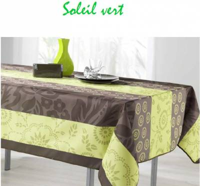 Nappe Rectangulaire Anti Tache Polyester Soleil Anis (Dimensions: 148 x 300 cm)