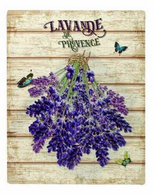 Grande Plaque Métal Decorative Theme Bouquet De Lavande Inversé Provence