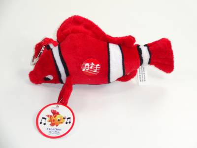 Peluche Poisson Musicale Rouge