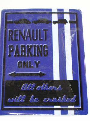 Plaque Métal Renault Parking Only