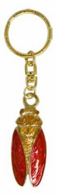 Porte Clefs Emaille Forme Cigale Rouge