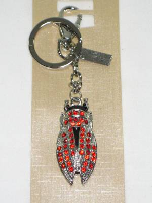 Porte Clefs Strass Cigale Rouge