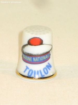 Dé à Coudre De Collection en Porcelaine Béret Toulon Intitulé Marine Nationale