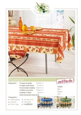 Nappe Anti Tache Provençale Polyester Tournesol Orange (148 x 240 cm)