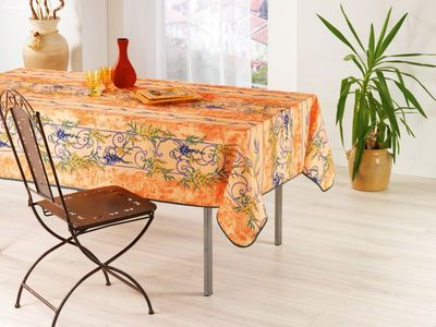 Nappe Anti Tache Provençale Polyester Glycine Orange (148 x 240 cm)