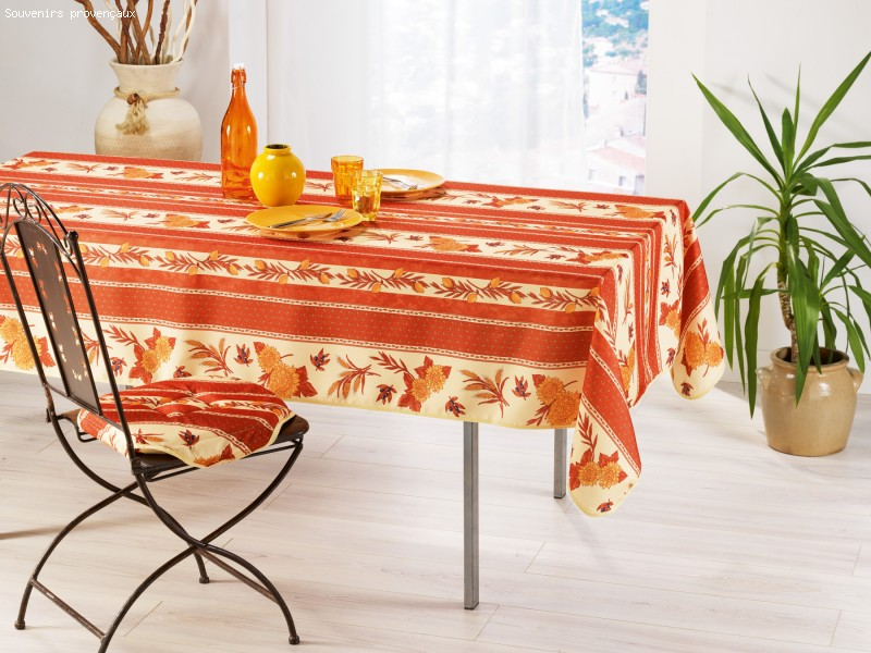 Nappe Anti Tache Provençale Polyester Tournesol Orange (148 X 200 cm)