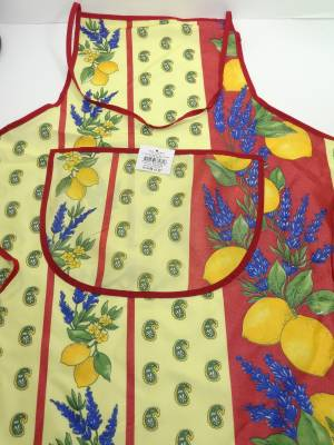 Tablier Provençal Polyester Anti Tache Citron Rouge (Fred Olivier)